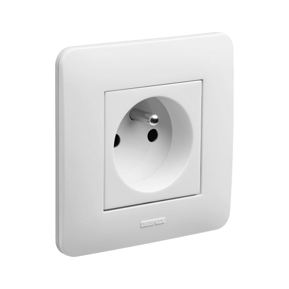 Appareillage encastré prise 2P+T 16 ampères complet Casual DEBFLEX Blanc brillant - 742700