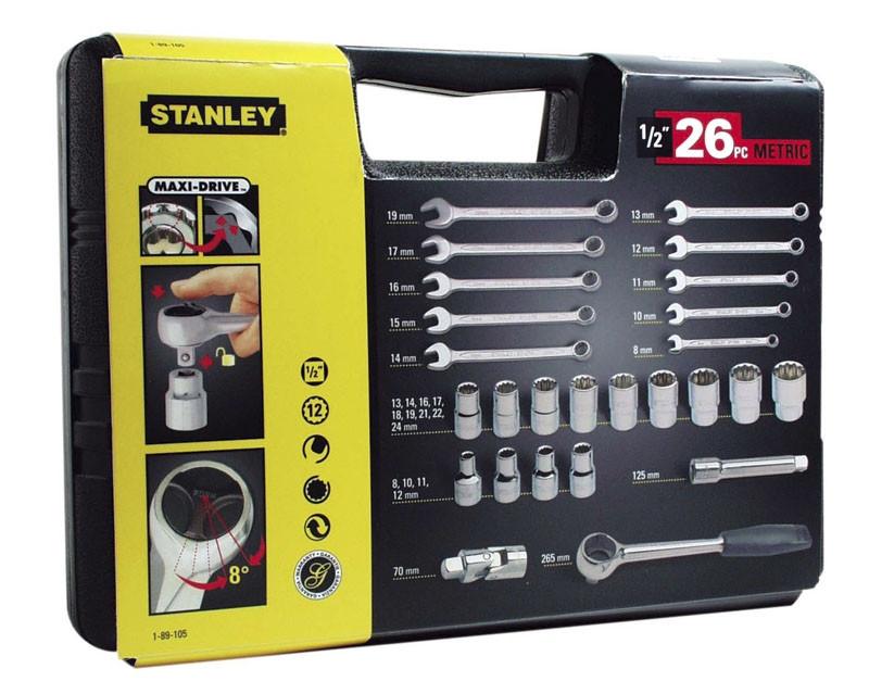 """Coffret 26 pièces douilles 12 pans 1/2"""" + clés mixtes STANLEY - 1-89-105"""