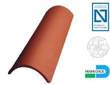 Tuile faîtière demi-ronde sans emboîtement TUILERIES 50 cm - finition rouge - FAIT50R