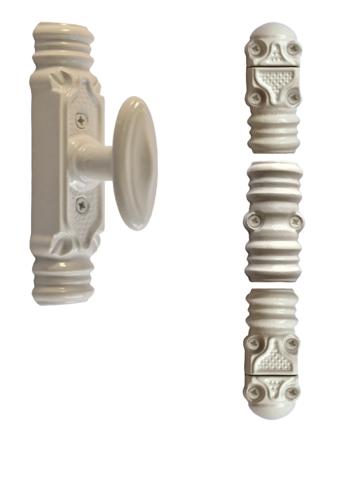 Fausse crémone ROLLINGER rustique blanche - Bouton n°6 - Pour tringle 16 x 8 - CRD168BT6BV
