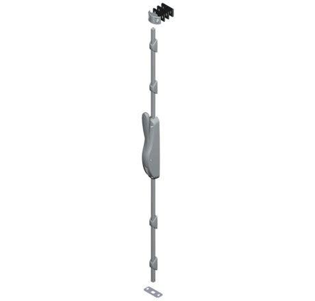 Kit crémone CROISEE DS - boîtier + 4 guides + gâche basse + gâche haute 3 cales - 2500 mm - gris argent - 6887