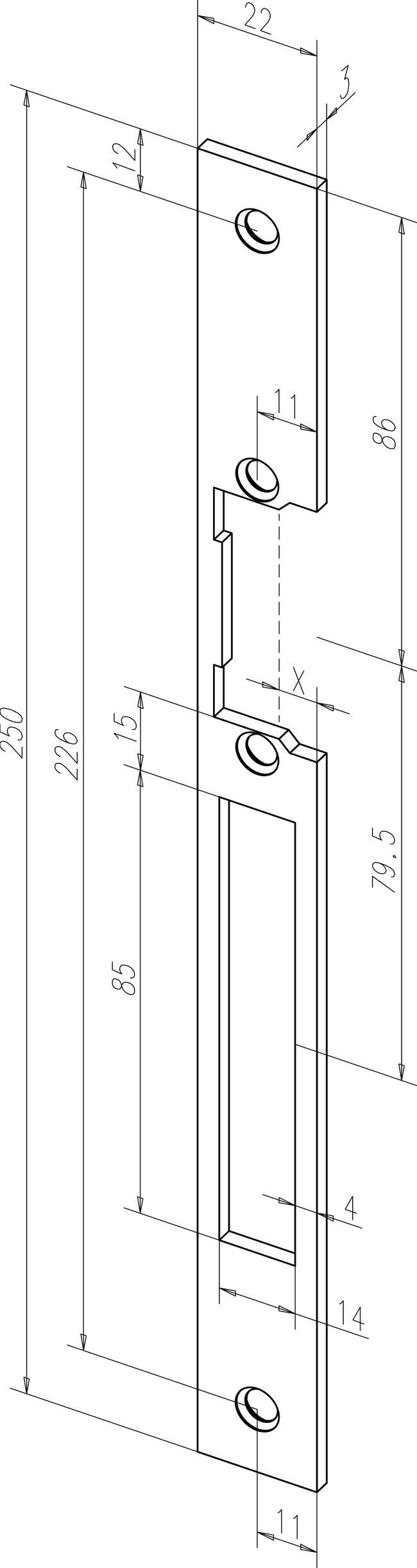 Têtière longue HZ Acier inox S 967 EFF EFF pour gâche électrique 44535-01 - double empenage réversible - 06445351