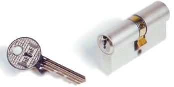 Cylindre Europa KABA - Laiton nickelé - 30x40mm - Sur passe général - Double - 3clés