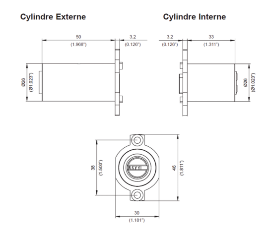 Cylindre adaptable MUL-T-LOCK CHEBA 262S+ - 3 Clés