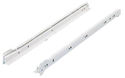 Paire de coulisses à galets FR402 HETTICH - L.250 mm - Charge 25 kg - Blanc - 106161101