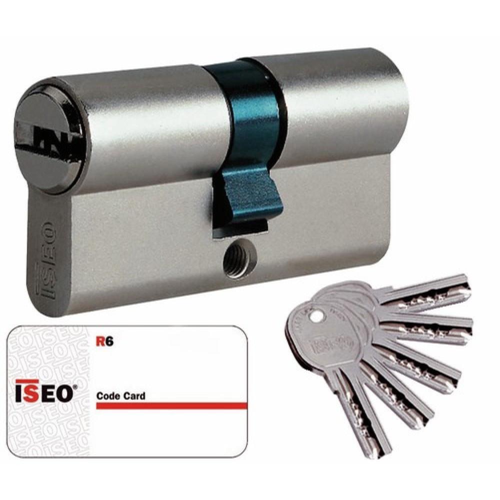 Cylindre Cavers ISEO City ISR6 - 1 entrée de clé + 1 bouton - Même variure V9 AGL004302 - Nickelé – 30B x 30 mm
