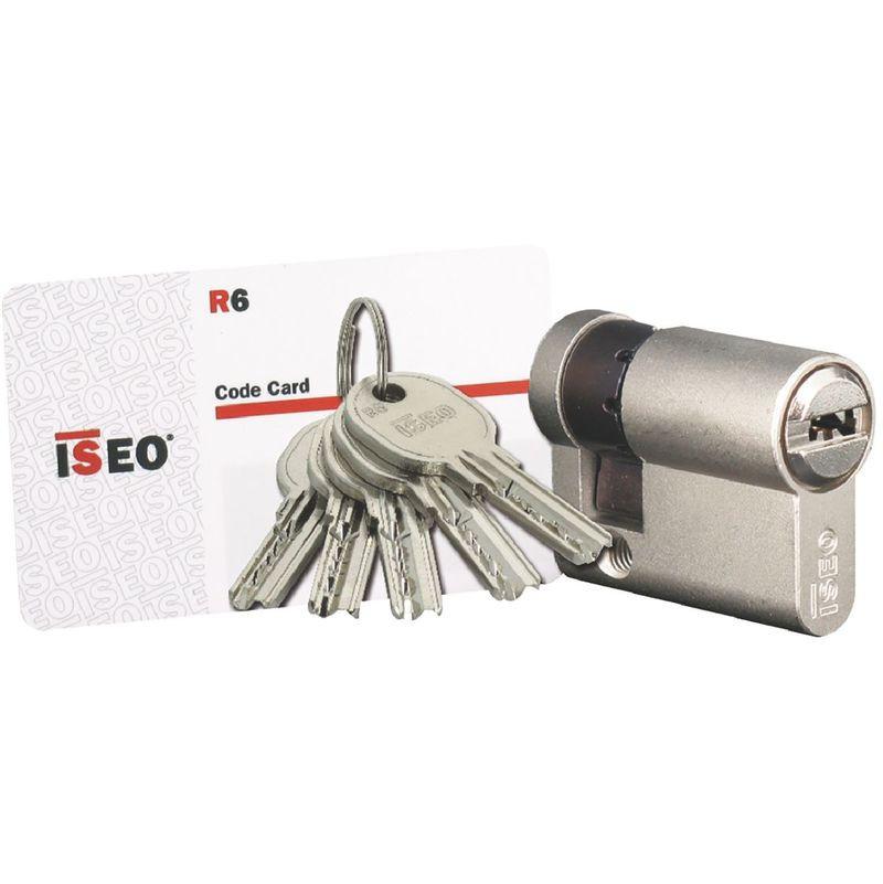 Cylindre Cavers ISEO City ISR6 - 1 entrée de clé - Même variure V9 AGL004302 - Nickelé - 30 x 10 mm