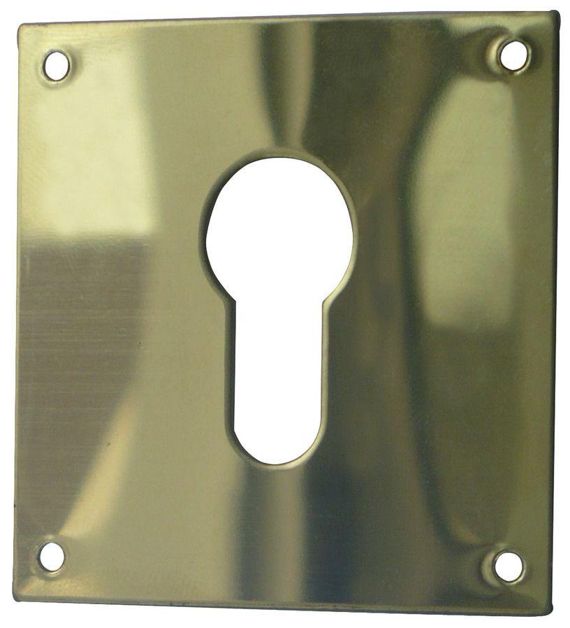 Entrée carrée 1281 DUVAL BILCOCQ - 90x65 mm - Laiton poli - Clé i - 35-0821-3652