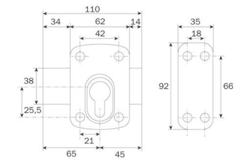 Verrou pour cylindre profile européen, en applique - Bronze or - 1005EU01