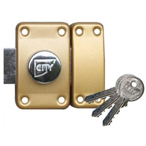 Verrou ISEO City 25 à bouton - Cylindre 40 mm - Sur variure NV03 - 10020402V03