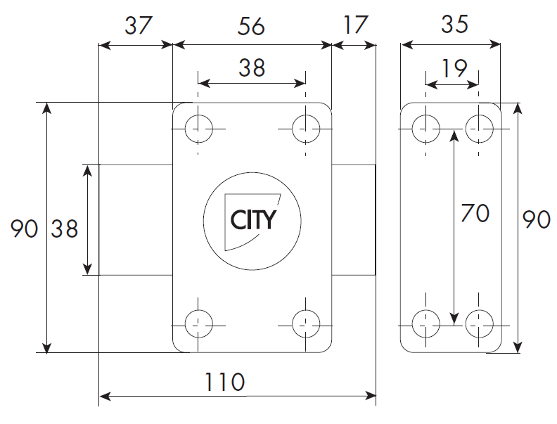 Verrou ISEO City 25 à bouton - Cylindre 50 mm - Sur variure N V03 - 10020502