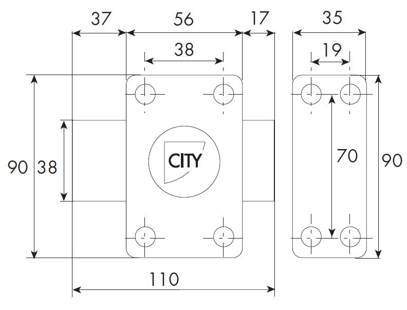 Verrou ISEO City 25 à bouton - Cylindre 50 mm - Sur variure N V04 - 10020502V04