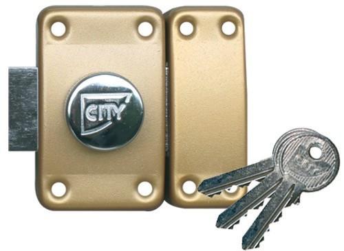 Verrou City art 25 à bouton - Cylindre 80 mm s'entrouvrant sur N V04 - 13020801V04