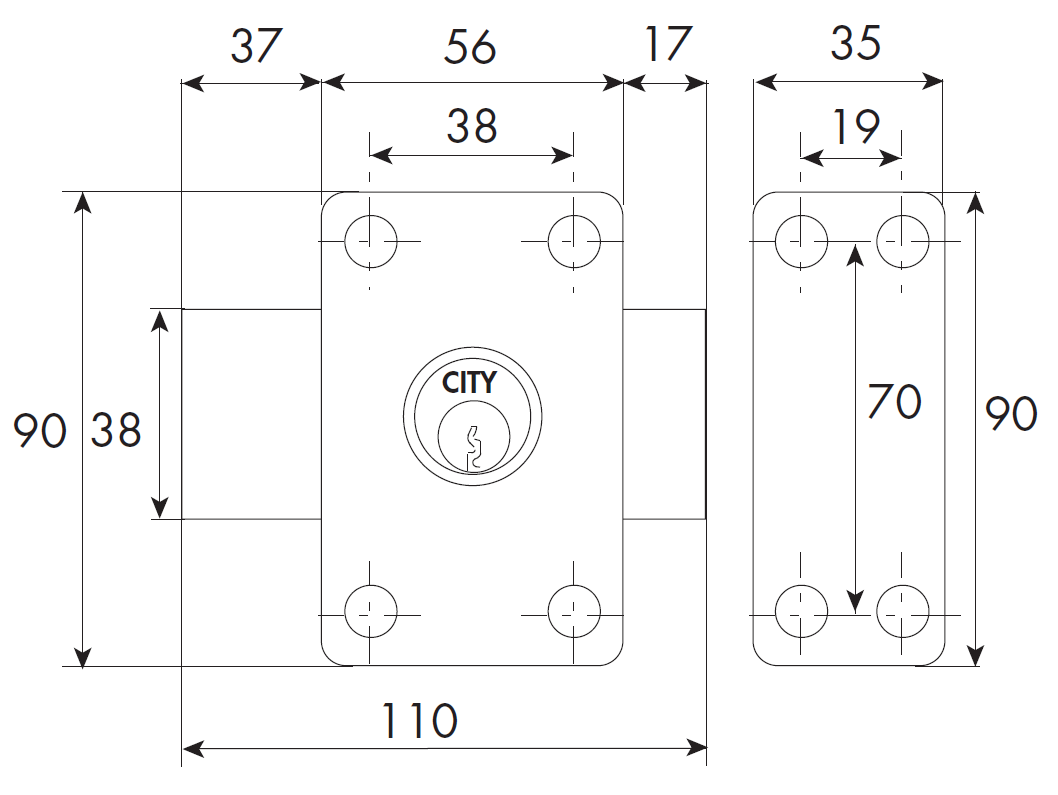 Verrou ISEO City 26 double cylindre - Cylindre 45 mm - Sur variure MV 03 - 10022452V03