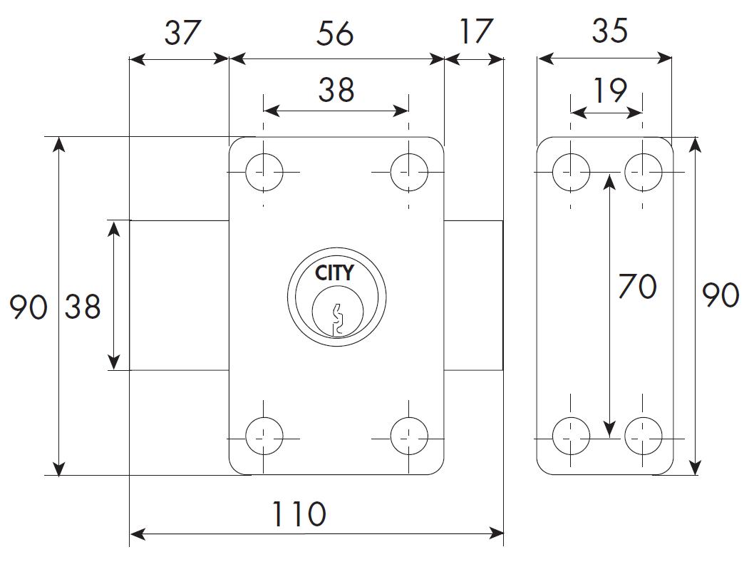 Verrou ISEO City 26 double cylindre - Cylindre 50 mm - Sur variure MV 03 - 10022502