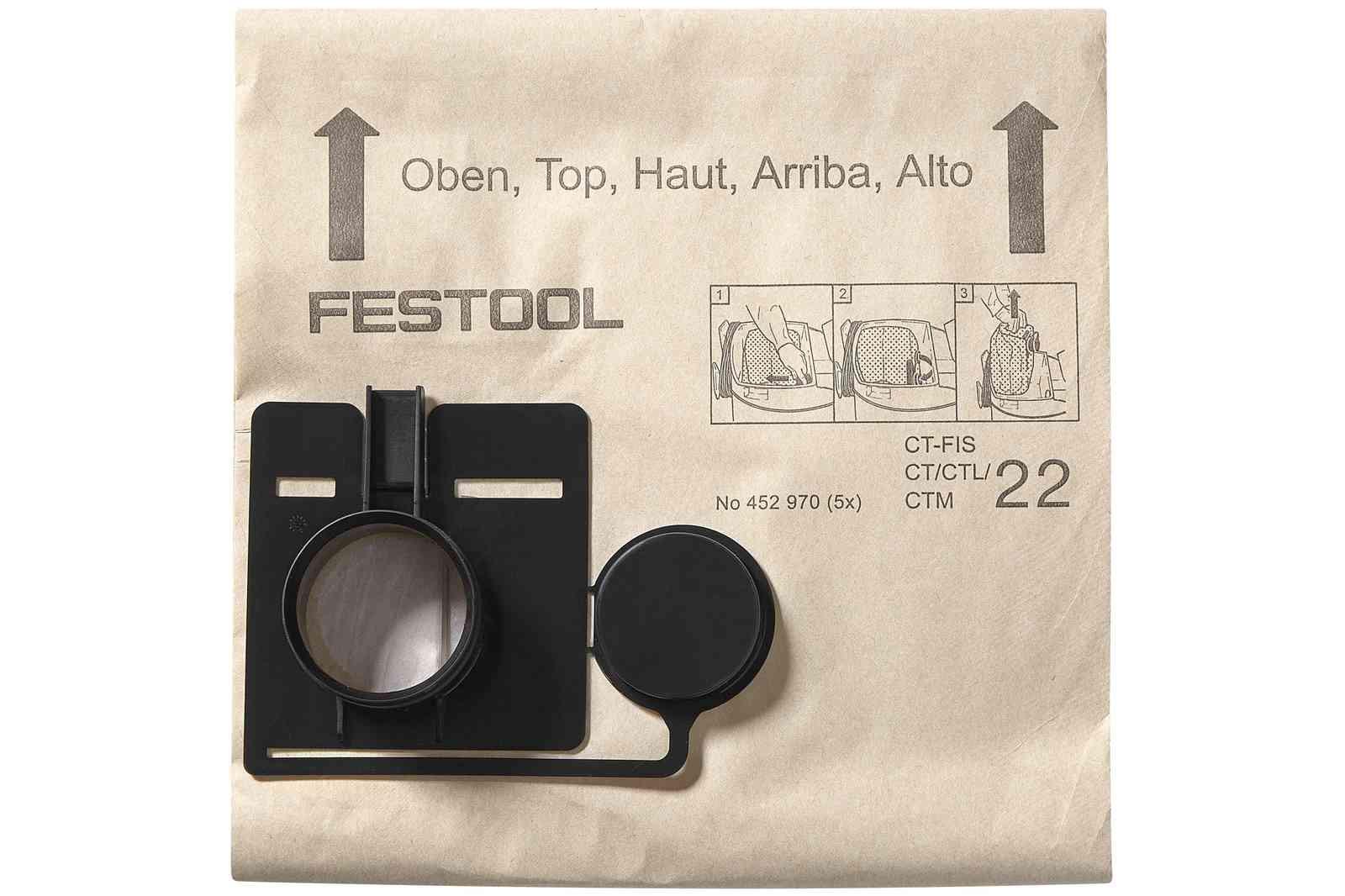 Sac filtre FIS-CT 22/5 FESTOOL - 5 pièces - 452970