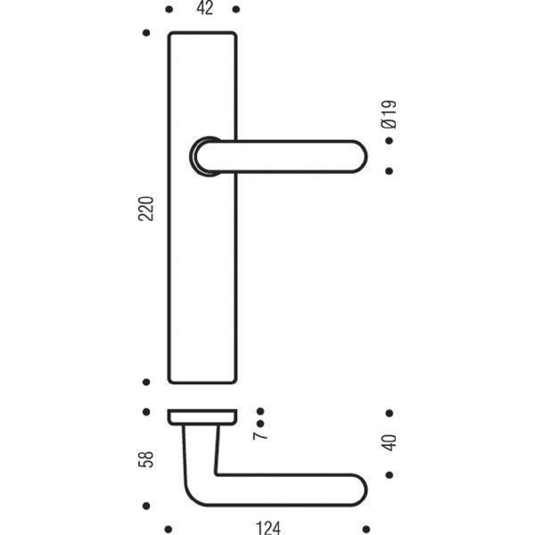 Ensemble de porte Golf 90 BEZAULT Argent Entraxe 195 mm - Condamnation - 0120858