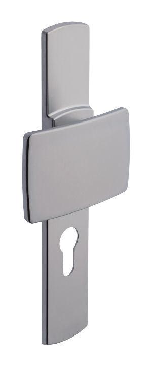 Ensemble de porte palière sur plaque Muze BEZAULT - Entraxe 195mm - Chrome velours - Clé I - 525/4075/6391