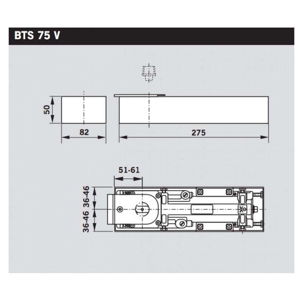 Pivot de sol BTS75 DORMA - Sans arrêt - 100 Kg - Sans plaque de recouvrement - 61801001