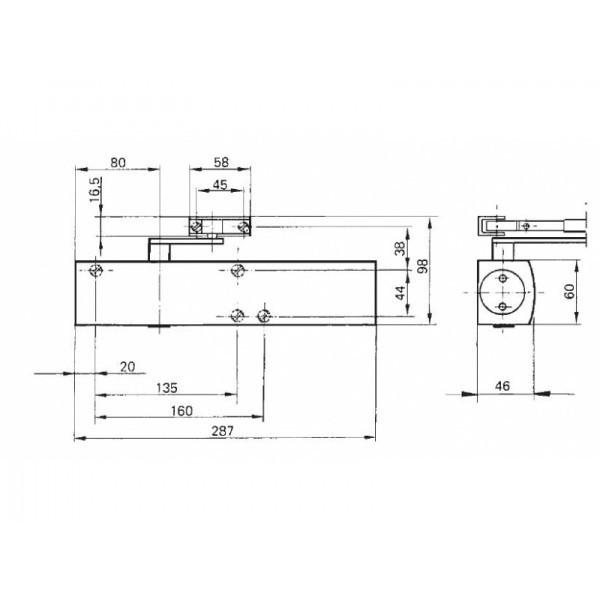 Ferme-porte TS4000 GEZE - Force réglable 1 à 6 - sans bras - Argent - 102789