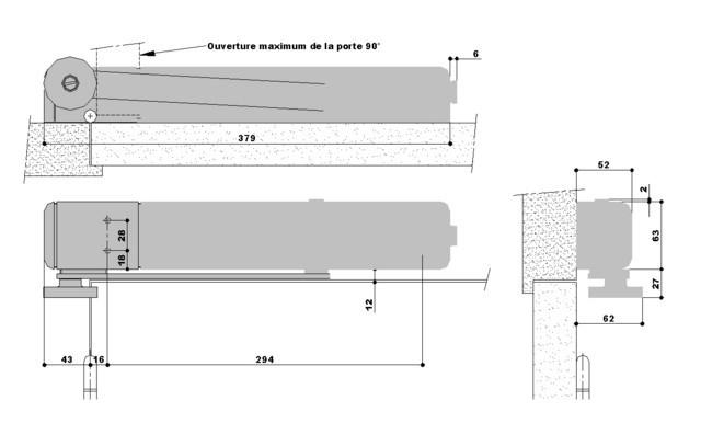 Ferme-porte FL96 EVO - CAVERS ISEO -  24V - Bi-tension - Rupture bras droite - 379975