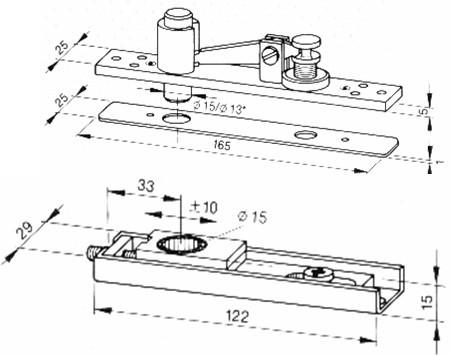 Ensemble supérieur droit extra-plat NORMBAU - Double action standard - 311MDSEP