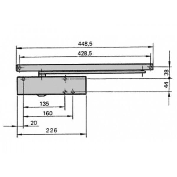 Ferme-porte TS Wood - Force 3 fixe - crémaillère elliptique - Argent - 118431