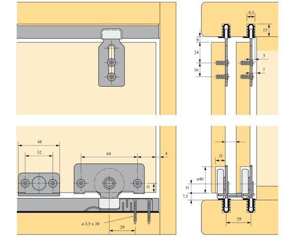 Kit 2 portes SlideLine 56 HETTICH - 45234