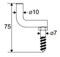 Goujon à crochet courbe coudée à vis Noir TORBEL pour espagnolette - 0720046