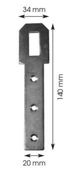 Agrafe de volet provençal trou long 140x20mm BOURG MERMIER acier zingué - 301103