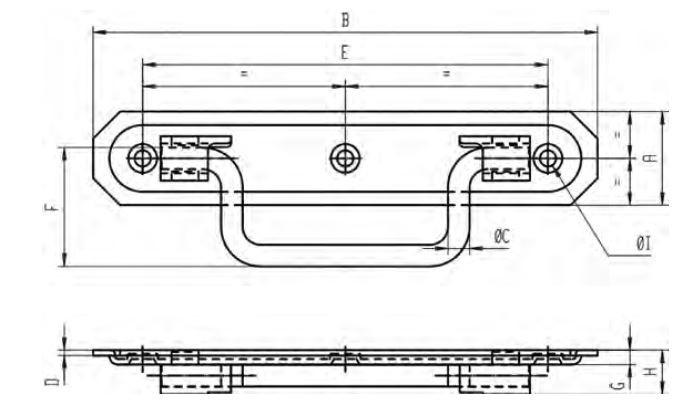 Poignée à arrêt platine emboutie MONIN acier zingué - 160x30 mm - 7351-733040