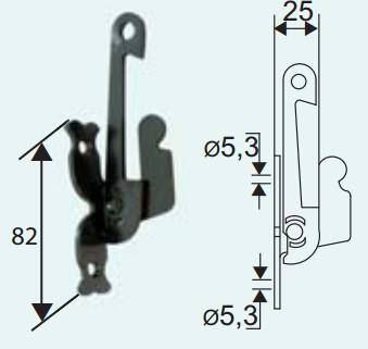 Support sécurité sur platine TORBELcataphorèse noir pour espagnolette - 753014l