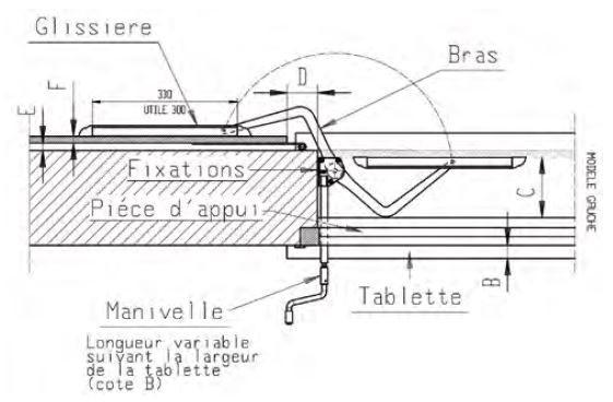 SystèmBoy Gauche MONIN aluminium anodisé - Ép. mur maxi 400 mm - 152240