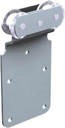 Monture sur plat MANTION pour déplacement droit porte 150kg - 2 galets acier - 251A