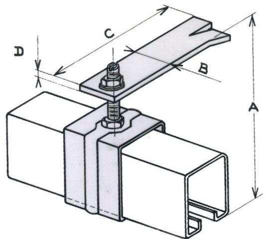 Patte à sceller 3532 MANTION SA - Pour rail tubulaire - Vis M10 - Capacité porte 80 Kg - 3532