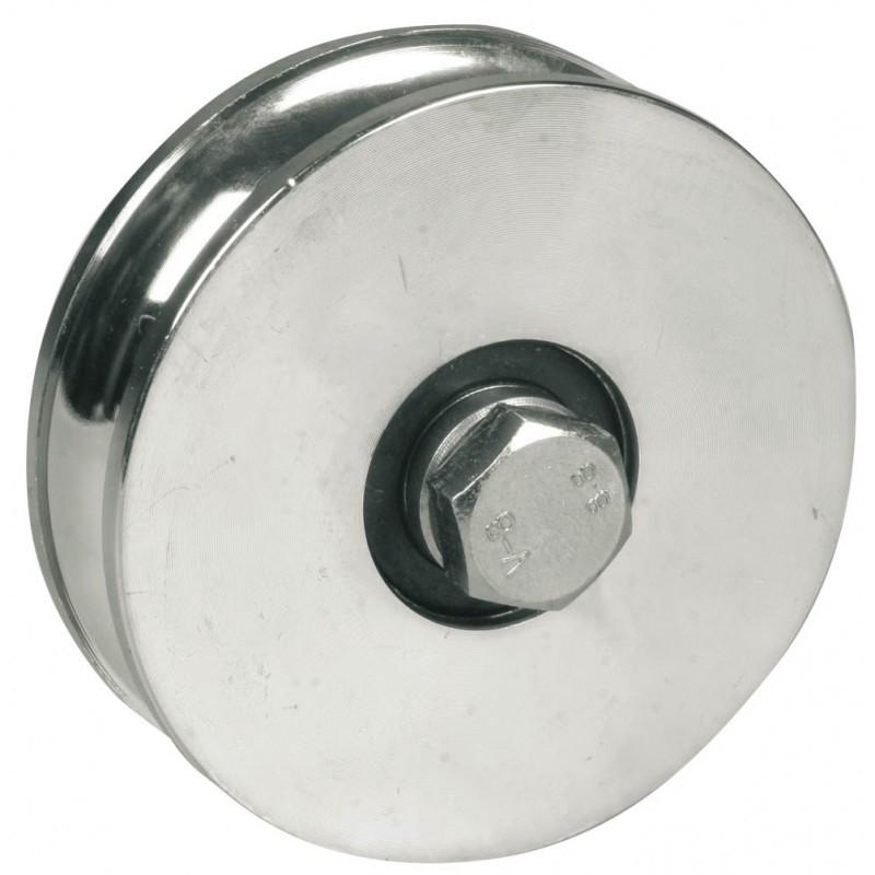 Roue à gorge ronde AVL Ø80 mm 1 roulement à bille - Charge 200 kg - Vis 12x50 mm - 914080A