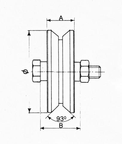 Roue Ø 80 à gorge triangulaire avec 1 roulement à bille AVL - Charge 200 kg - 914080Y