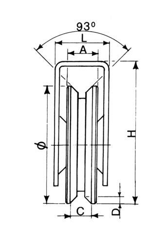 Roue Ø 80 à gorge triangulaire support extérieur AVL - Charge 300 kg - 7000