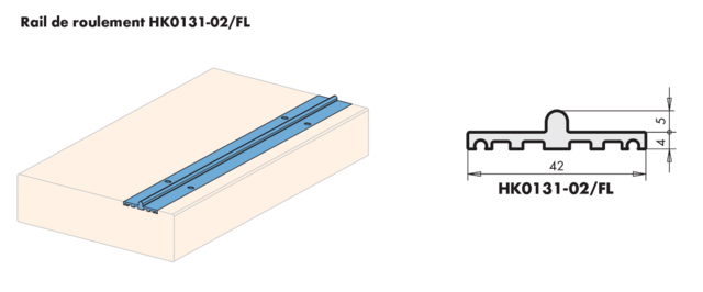 Rail bas extra plat pour coulissant SIEGENIA -  longueur 6m70 - alu naturel - 129517