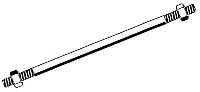 Entretoise filet acier zingué bichromaté 16 x 450 mm + 2 écrous TORBEL - G616452