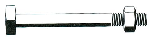 Boulon de charpente tête carrée F2 filetage 60 mm + Écrou 6 pans acier zingué argent TORBEL - F21