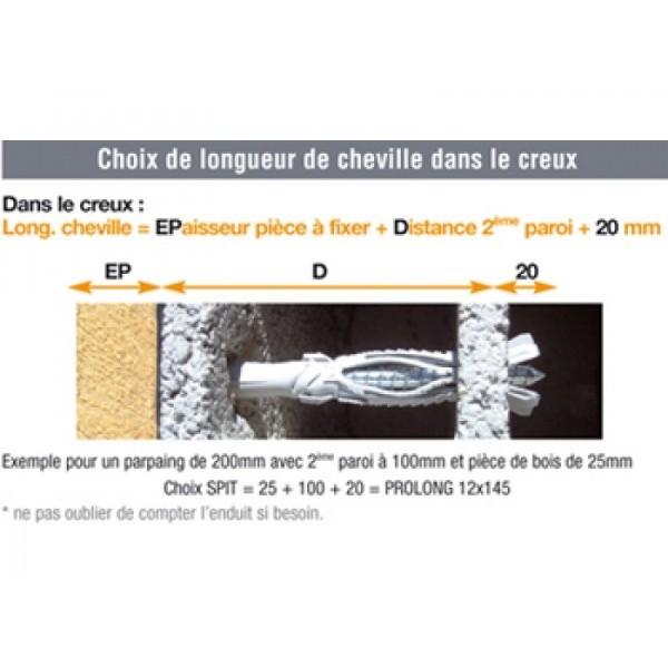 Cheville + Tirefond Prolong HF Ø12x120 mm SPIT - Boîte de 25 - 566675
