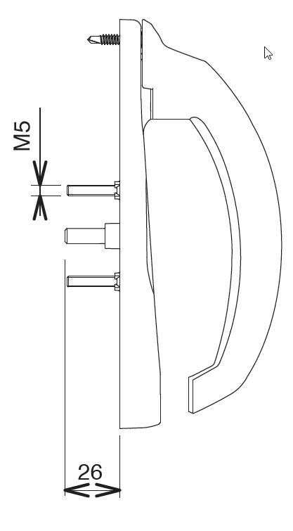 Poignée 20° intérieur 5530-1 Blanc CROISEE DS - Fut centre gauche prof.28 à 38 mm - DS5530-G036