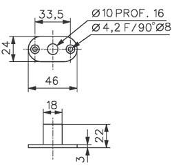 Boîte à roulement pour 3272 ASSA ABLOY - Chromé/Brillant - 3280.30.0