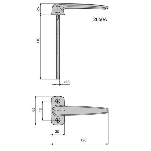 Béquille simple saillie réduite Horus 2050A FAPIM Carré 8 mm - gris G5 - 2050A_G5