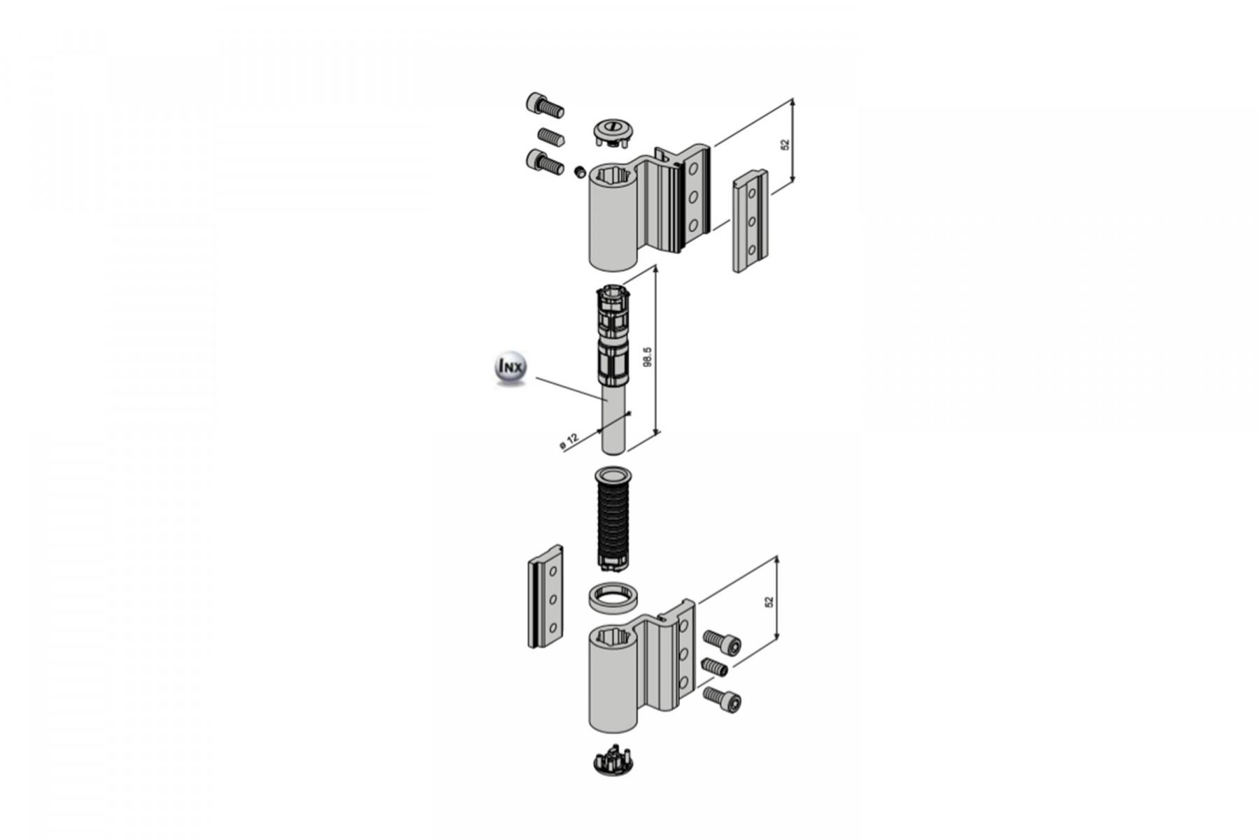 Paumelle Velox Top alu 5500I FAPIM 2 lames EL 17mm - Gris 05 - 5520_05
