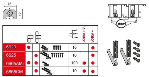 Kit de fixation pour paumelles - FAPIM - 6623V_00