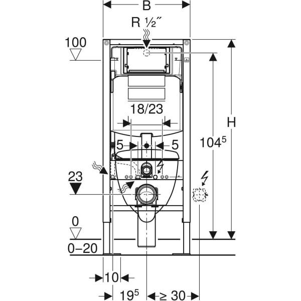 Pack bâti-support pour WC suspendu Duofix GEBERIT - 112cm - réservoir Sigma12cm - Plaque Sigma20 - wc suspendu Renova semi-caréné - 118.311.KJ.1