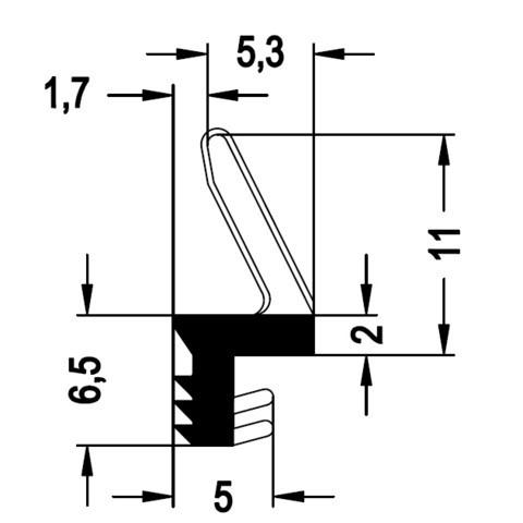 Joint sur dormant brun 606752 REHAU Larg.4.5 mm - Rouleau 75m - 606752BRUN