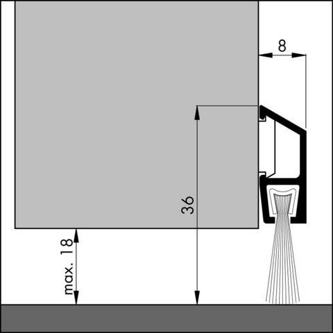 Profil alu anodisé avec brosse IDS-BA ELTON - Argent - Fixation invisible - 3.00 mL + 3 boîtes d'accessoires - 305601